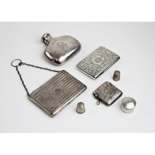 29 - A Victorian silver aide memoir by Joseph Gloster, Birmingham 1899, of rectangular form with scrollin...