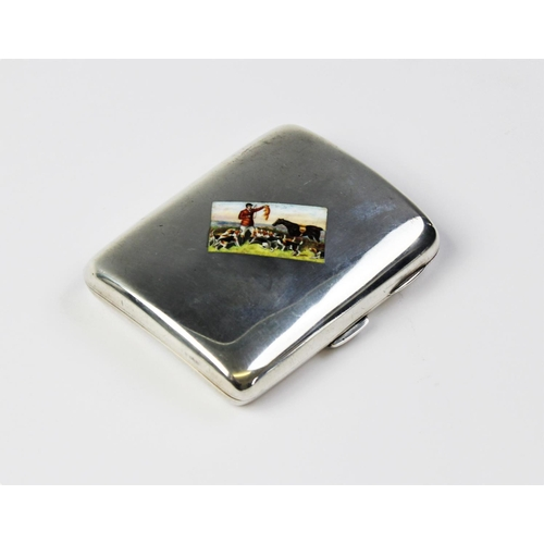 44 - HUNTING INTEREST: An Edwardian silver cigarette case by John Millward Banks, Chester 1902, of plain ...