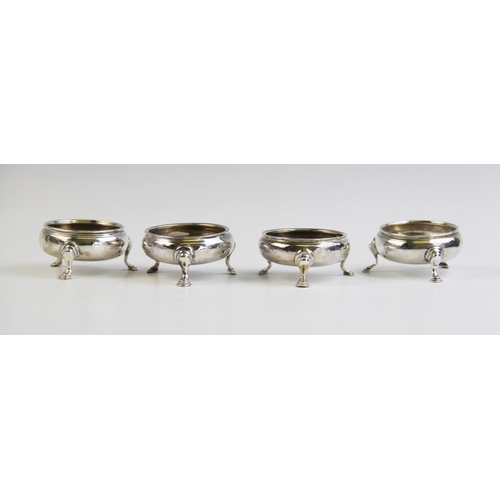 5 - Four George III silver salts, two with marks for London, 1770 (maker's mark rubbed) and two with mar...
