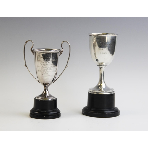 9 - A small silver twin-handled trophy cup by Blackmore & Fletcher Ltd, London 1937, of tapering cylindr...