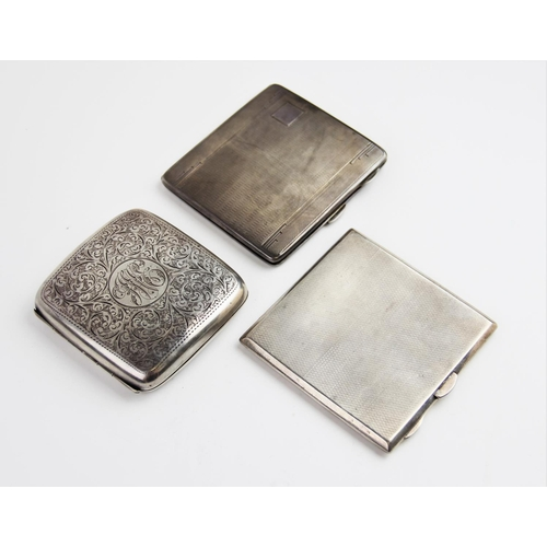 26 - A George V silver cigarette case by Mappin & Webb, Birmingham 1929, of square form with engine turne...