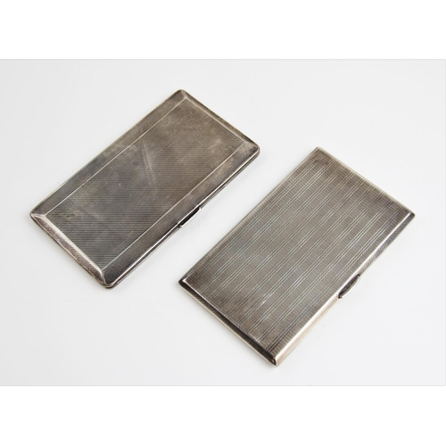 30 - A George VI silver cigarette case by Steele & Dolphin Ltd, Chester, of rectangular form with engine ...