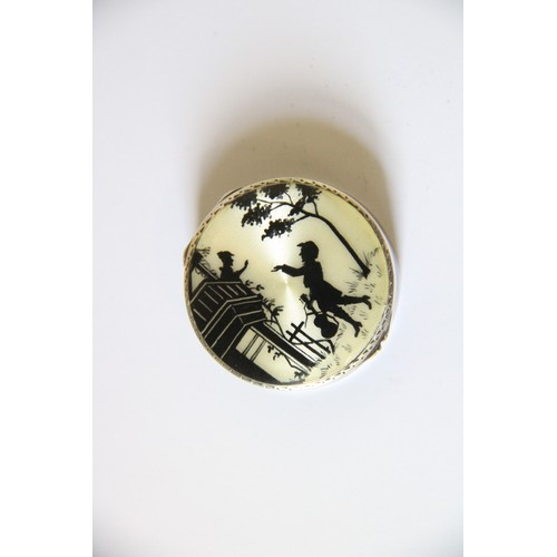 41 - A silver and enamel pill box, import marks for Cohen & Charles, London 1926, of circular form, decor...
