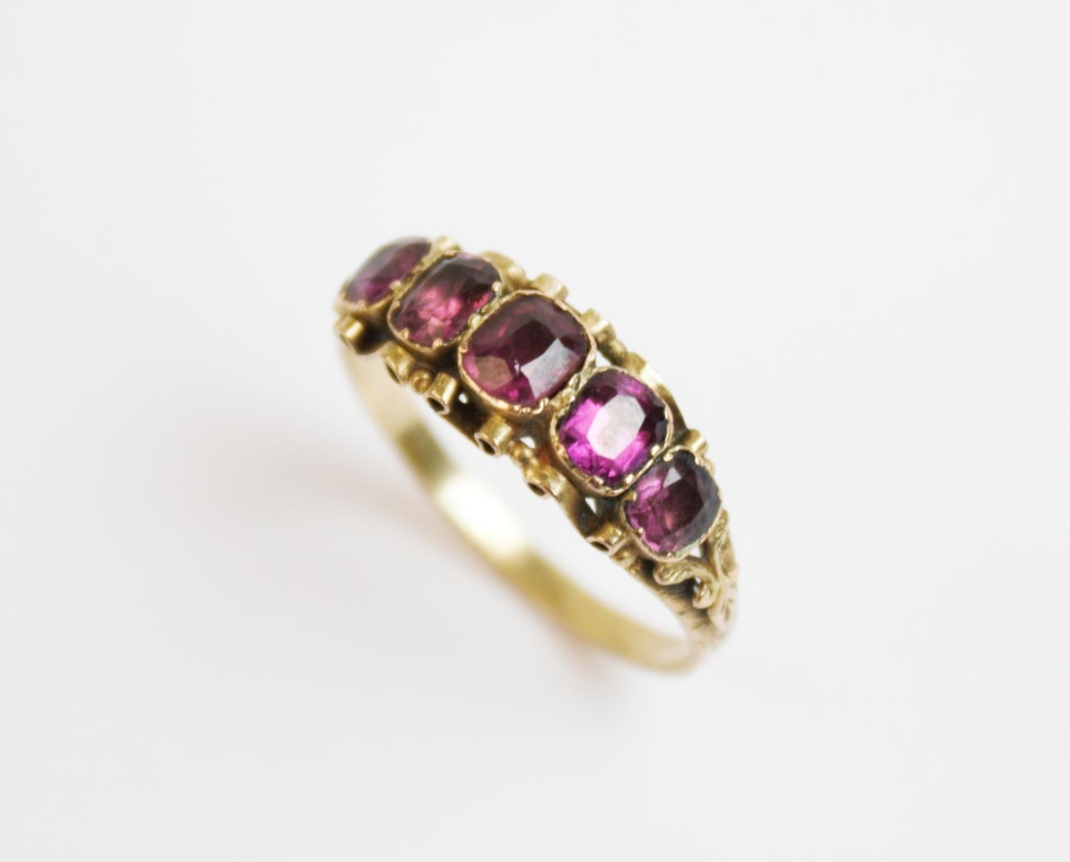 A Victorian five stone amethyst ring, co...