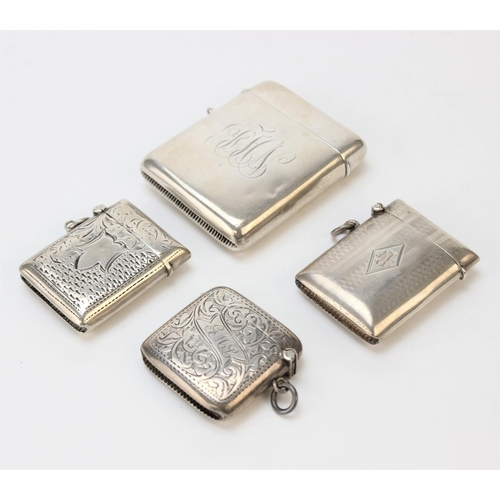 17 - An Edwardian silver vesta case by Horace Woodward & Co Ltd, Birmingham 1910, of rounded rectangular ...