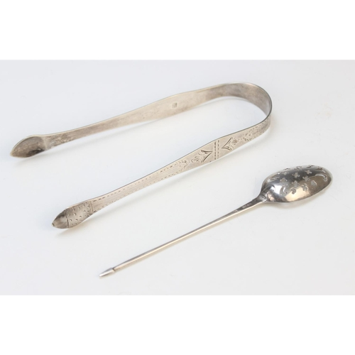 24 - A silver mote spoon possibly Benjamin Cartwright II circa 1750, of typical form with pierced bowl an...