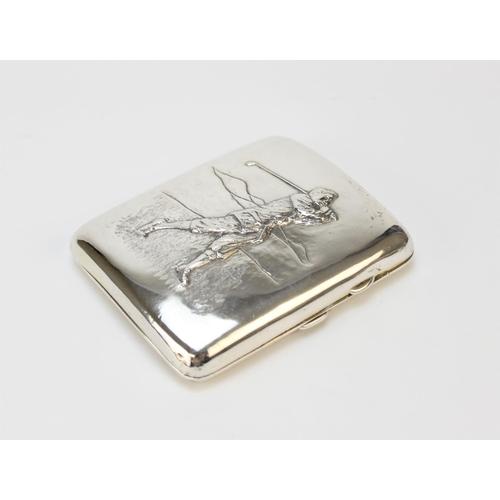 35 - GOLFING INTEREST: A George V silver cigarette case by Joseph Gloster Ltd, Birmingham 1913, of curved...