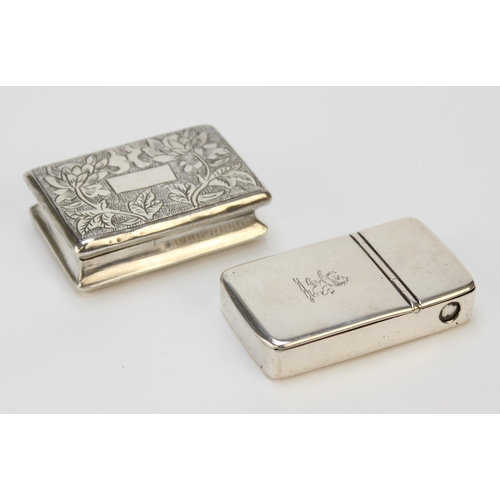 38 - A Victorian/Edwardian silver snuff box, circa 1900, of rectangular form with chased floral decoratio...