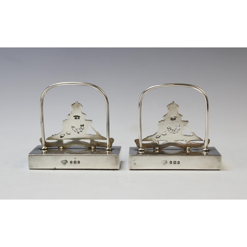 42 - MILITARY INTEREST: A pair of silver Royal Artillery menu/place card holders, Goldsmiths & Silversmit...