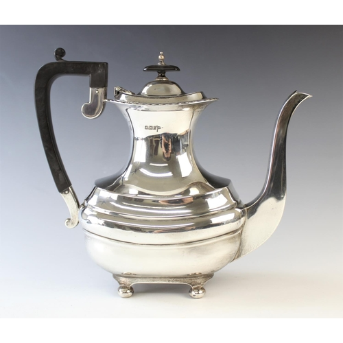 47 - A silver coffee pot, Walker & Hall, Sheffield 1915, of rounded rectangular form, with gadrooned rim ...
