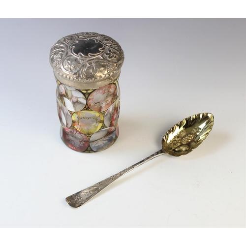 5 - An Edwardian glass jar and silver cover, S Blanckensee & Son Ltd Birmingham 1907, the faceted jar fl...