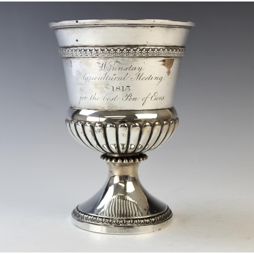50 - A George III silver Agricultural trophy, Joseph Guest, London 1812, the pedestal trophy with stop fl...