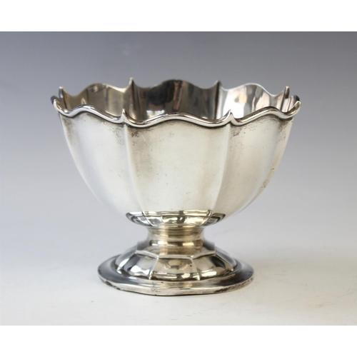 56 - An Edwardian silver sugar bowl, A & J Zimmerman Ltd Birmingham 1906, of pedestal form with ogee rim ...
