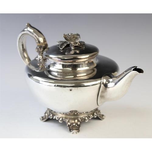 58 - A Victorian silver teapot, John Tapley, London 1844, of compressed ovoid shape, raised on bracket fe...
