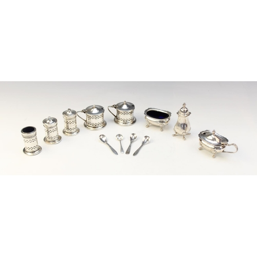 11 - A five-piece silver condiment set by Co-operative Wholesale Society, Chester 1932, comprising two we...