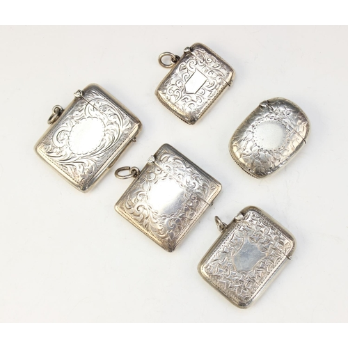 18 - A selection of Victorian and later silver vesta cases, dated between 1893 - 1919, each of rounded re...