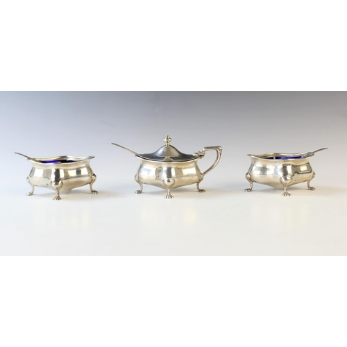 12 - A George V three-piece silver cruet set by Cooper Brothers & Sons Ltd, Sheffield 1919-21, each of mo...