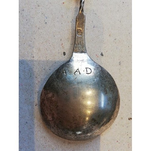 44 - A Continental (possibly Dutch) silver spoon, indistinctly marked, with embossed decoration to bowl, ...