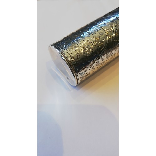 29 - An Edwardian silver perfume bottle by Arthur Joseph Mason, Birmingham 1907, of cylindrical form with...