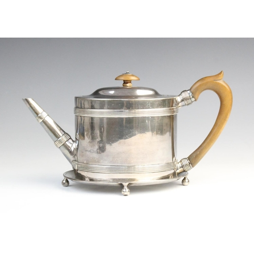 1 - A George III silver teapot and stand, Henry Green London 1787, the teapot of oval form with reeded b...