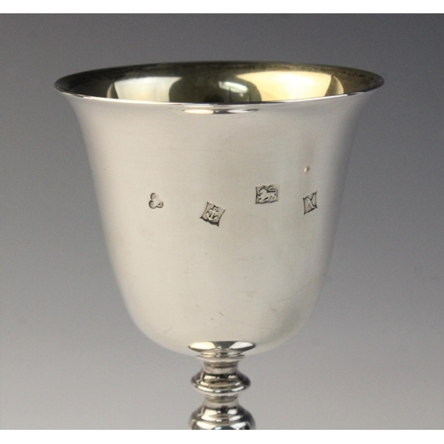15 - A pair of silver goblets commemorating the Octocentenary of Newcastle-Under-Lyme by Terry & Co, Birm...