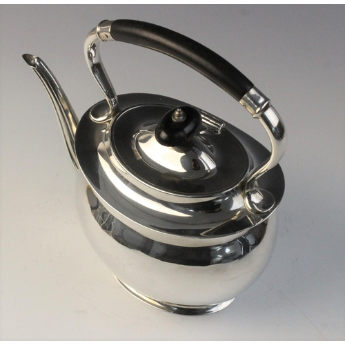 18 - A George V silver kettle by William Lister & Sons, Sheffield 1912, of compressed oval form with hing...