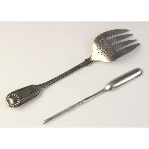 23 - A Victorian silver serving fork by Brewis & Co, London 1891, with fiddle thread and shell pattern ha...