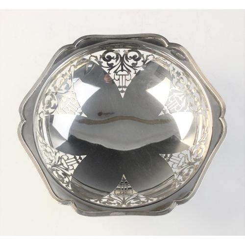 27 - An Art Deco silver bon-bon dish by Walker & Hall, Sheffield 1923, of hexagonal form with pierced dec...