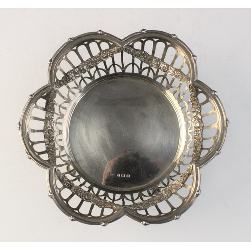 28 - An Edwardian silver bon-bon dish by Henry Matthews, Birmingham 1908, of lobed hexagonal 'flower head...