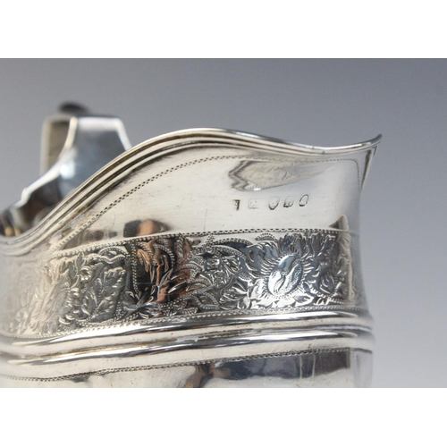 33 - A George III silver teapot stand by Crispin Fuller, London 1802, of oval form with reeded border on ...