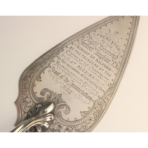47 - A Victorian silver presentation trowel by William Hutton & Sons, London 1876, the carved ivory handl...