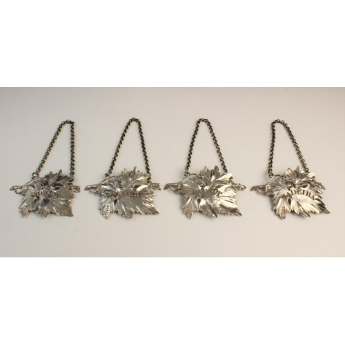 52 - A set of four William IV silver decanter labels by Charles Rawlings & William Summers, each in the f...