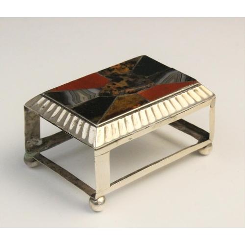 53 - A Victorian silver agate set matchbox holder by Adie and Lovekin, Birmingham 1892, of rectangular fo...