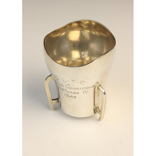 55 - An Irish silver miniature trophy cup by T Weir & Sons, Dublin 1945, of tapered form with waved borde...