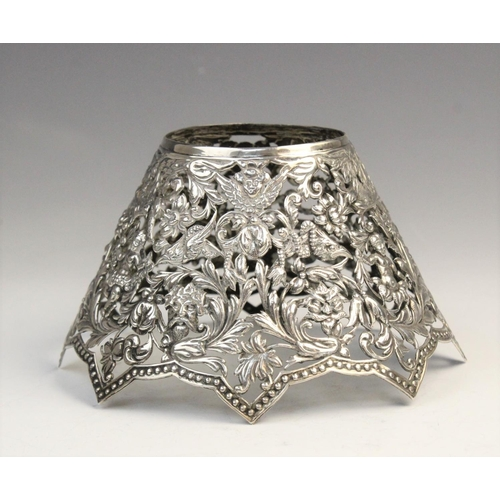 57 - A silver gilt bon-bon basket by Adie Brothers Ltd, Birmingham 1958, of tapered circular form with pi...