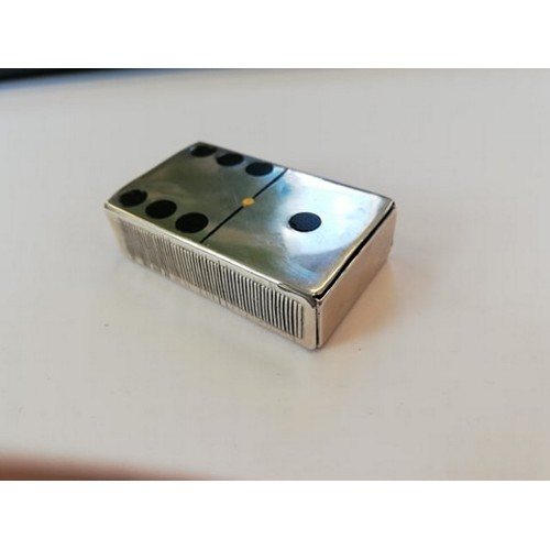 51 - A Victorian silver novelty domino vesta case by James Deakin & Sons, Chester 1899, of rectangular fo...