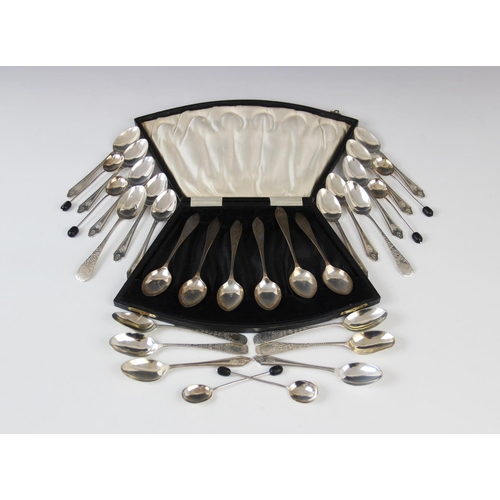 15 - A selection of silver teaspoons and coffee spoons, to include a set of twelve George V coffee spoons...