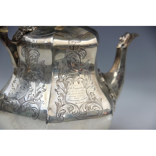 18 - A Victorian four piece silver tea service by George John Richards, London 1851, comprising teapot, h...
