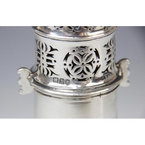 29 - An Edwardian silver sugar caster by Matthew John Jessop, London 1903, the cylindrical waisted body o...