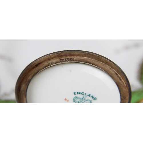 4 - A cased Coalport silver mounted coffee service, Jay, Richard Attenborough & Co, Chester 1905, compri...