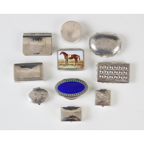 45 - A selection of silver pill boxes and containers, to include a continental silver box in the form of ...