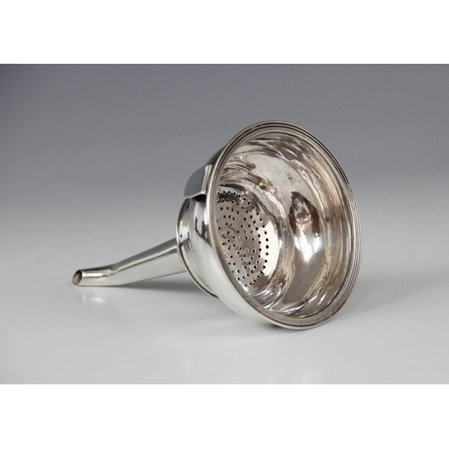 8 - A George III silver wine funnel by Peter, Ann & William Bateman, London 1801, the bowl with reeded b...