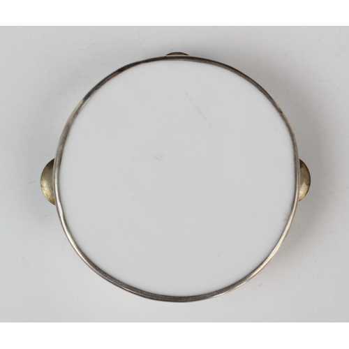 52 - An Edwardian novelty miniature tambourine by William Hair Haseler, Birmingham 1907, of circular form...