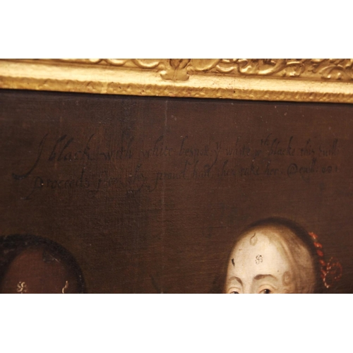 564 - English school, circa 1650, Portrait of two ladies, both half length, Patch marks to their faces ins...