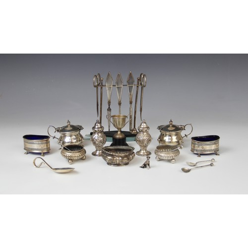 36 - A selection of silver tableware, comprising; an Art Deco five-piece silver mounted manicure kit by S...