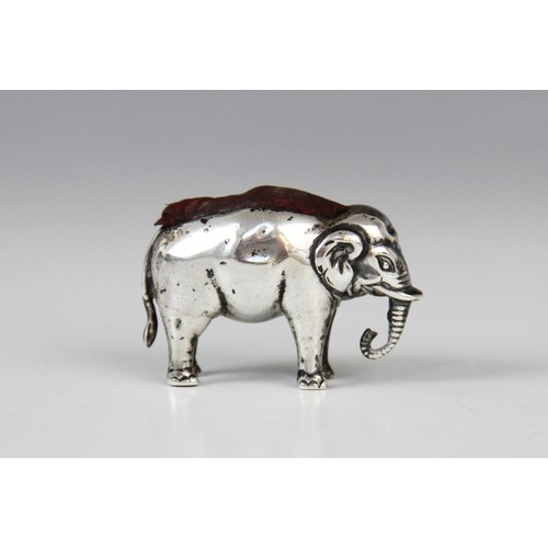 40A - An Edwardian pin cushion in the form of an elephant, Adie and Lovekin, Birmingham 1908, the beast re...