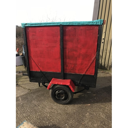 1 - Single axle wheeled enclosed trailer, 5 foot long...