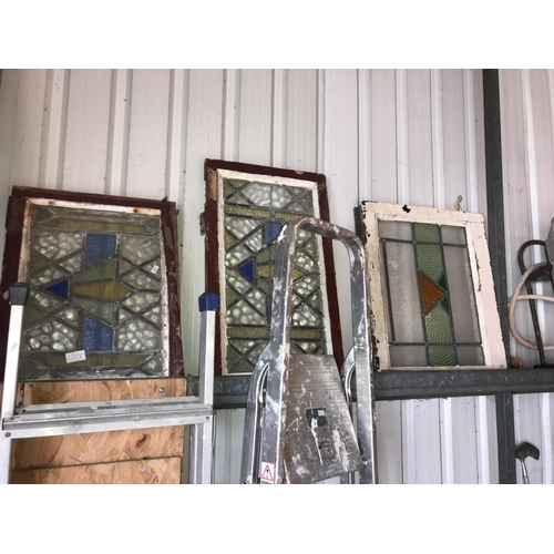 6 - 3x 1920s lead light windows with coloured glass...