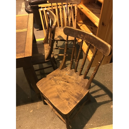 669 - 3 x 1930's beech and elm timber kitchen chairs...
