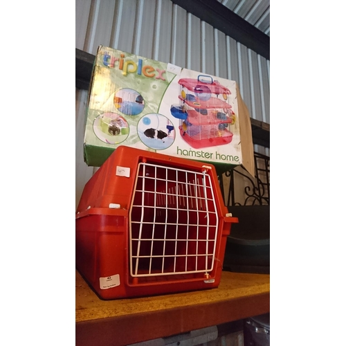 43 - Hamster home in the box and red pet carrier...